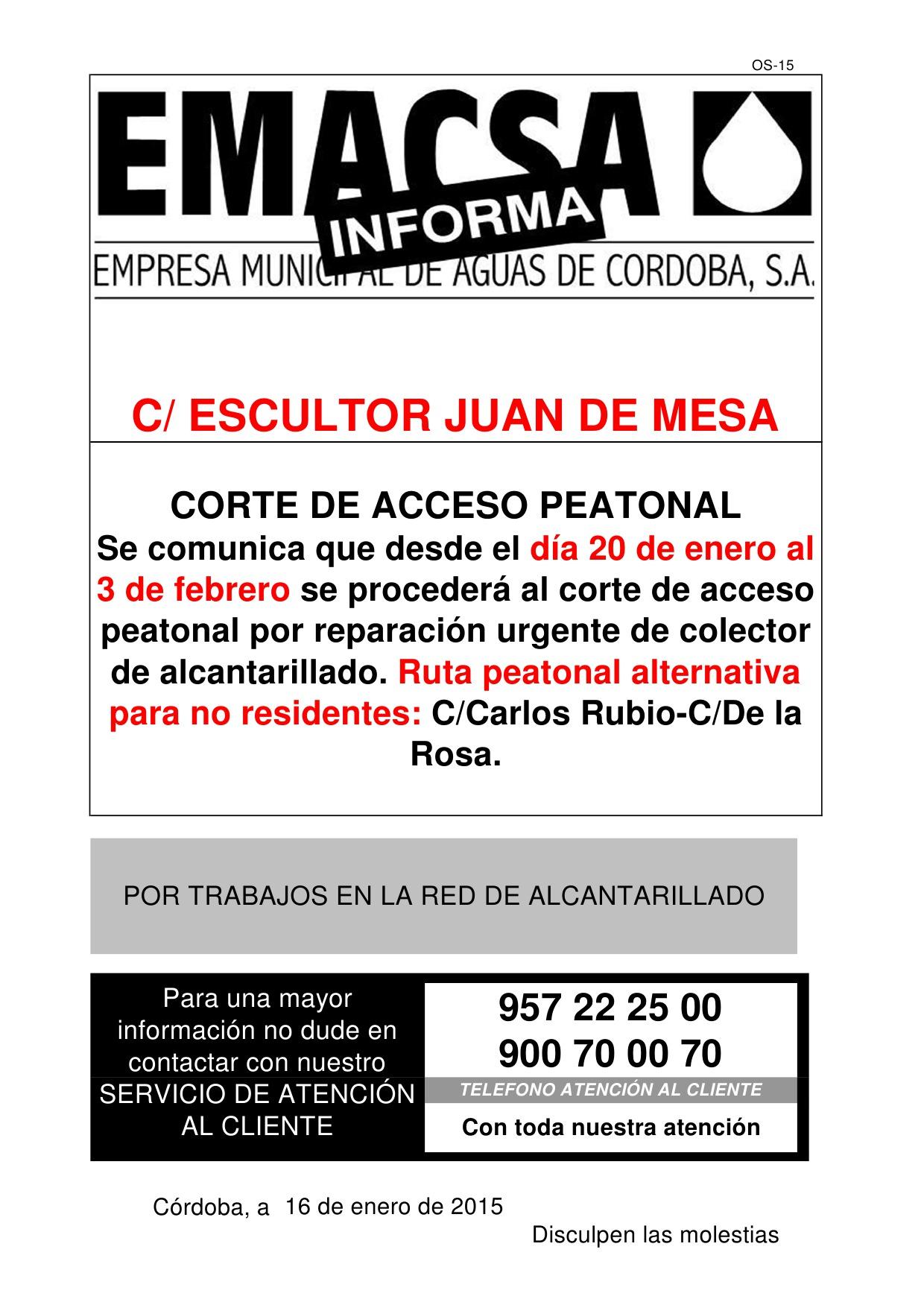CALLE ESCULTOR JUAN DE MESA (ACCESO PEATONAL)
