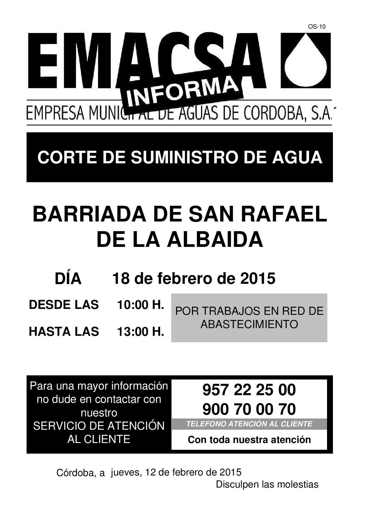BDA. SAN RAFAEL DE LA ALBAIDA (Corte Suministro 18-2-15)