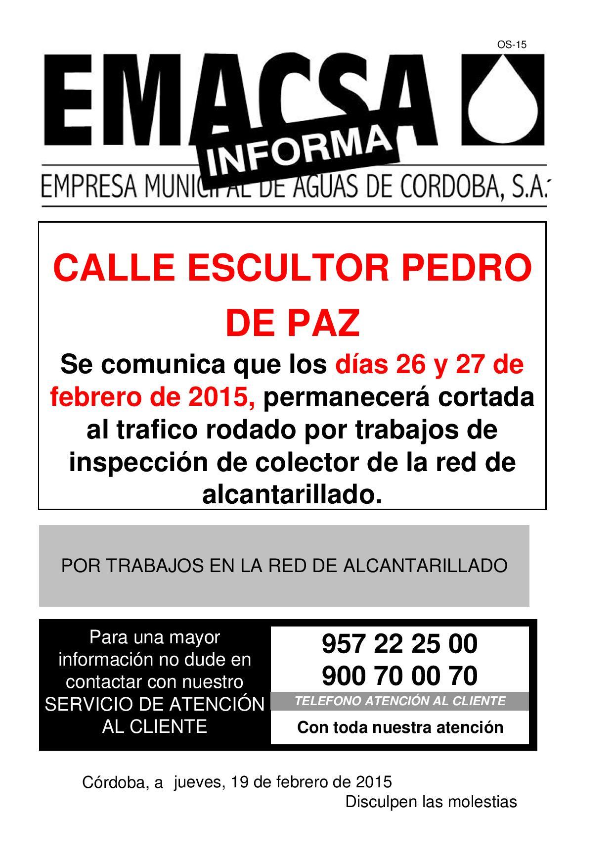 CALLE ESCULTOR PEDRO DE PAZ