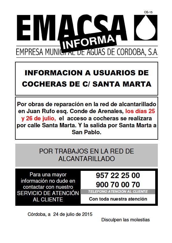 Santa Marta - Acceso a cocheras